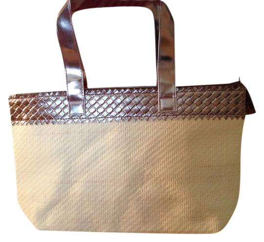 Other Waterproof Interior Tote in Off-white with Silver trim - magenta lining