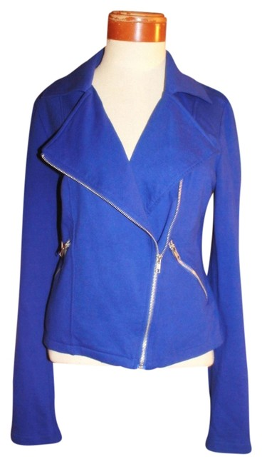 Item - Sapphire Blue L Royal Cobalt Cotton Fleece Moto Zip Jacket Size 12 (L)