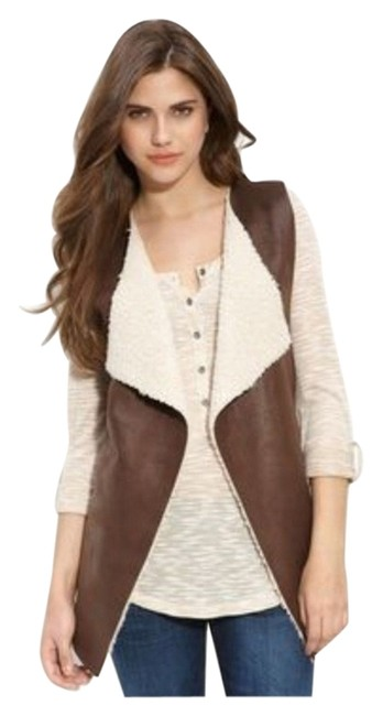 Item - Brown Faux Leather Sherpa Vest Size 6 (S)