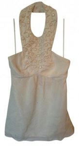 Tibi Silk Cream Halter Top