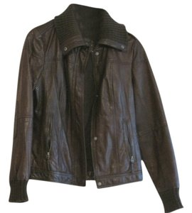 Eddie Bauer Bomber Fitted Brown Leather Jacket