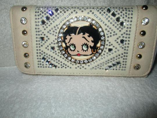 Betty Boop Betty Boop Rhinestone Beige Multicolor Studded Checkbook Wallet Purse