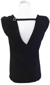 Zara Sleeveless Keyhole Pads Cap Sleeve Top Black