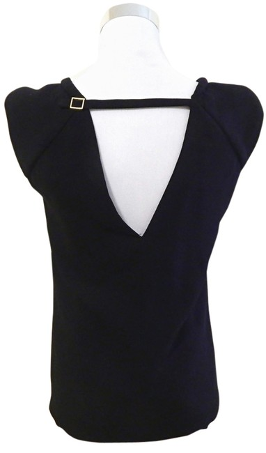 Zara Sleeveless Keyhole Shoulder Pads Cap Sleeve Top Black