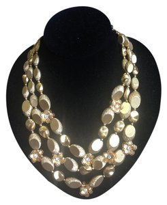 Deauville Deauville vintage gold triple stand necklace
