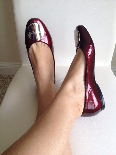 Anne Klein All Leather Adorned Leather Dark burgundy patent and polished silver branded logo Flats