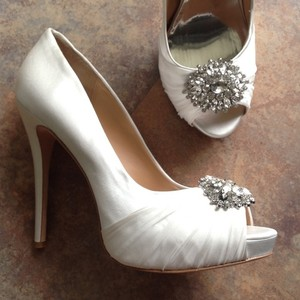 Badgley Mischka Satin Illusion Platform Heels Rhinestones Wedding Shoes