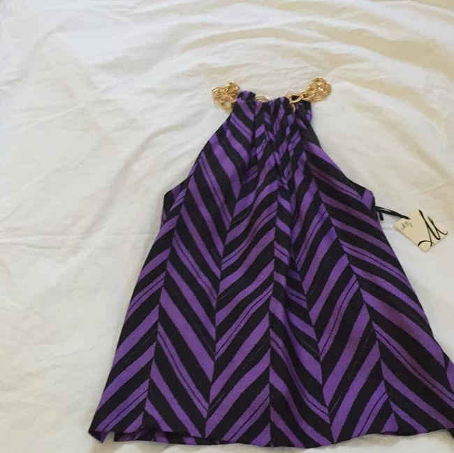 MILLY Sexy Halter Chain Top Purple & Black