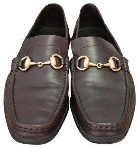 Gucci Leather Logo Brown Italy Loafers Chocolate Brown Flats