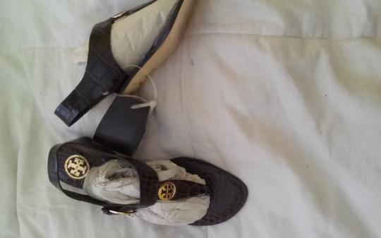 Tory Burch brown Embossed leather Sandals