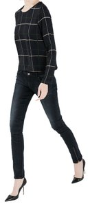Zara Denim Zipper Dark Wash Dark Rinse Stretchy Fitted Bottoms Pants Skinny Jeans-Dark Rinse