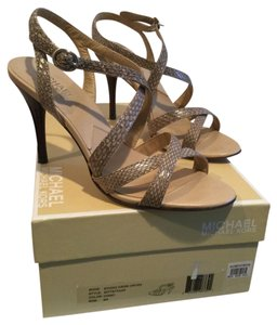 MICHAEL Michael Kors SALE Chino Genuine snakeskin leather lining leather soles ankle straps Sandals