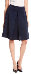 Green Envelope Flared Pleated Skirt Navy