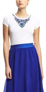 Cupio Sleeve Embellished T Shirt Blue/White