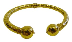 Textured Goldtone High Polished Ball Cuff Bracelet