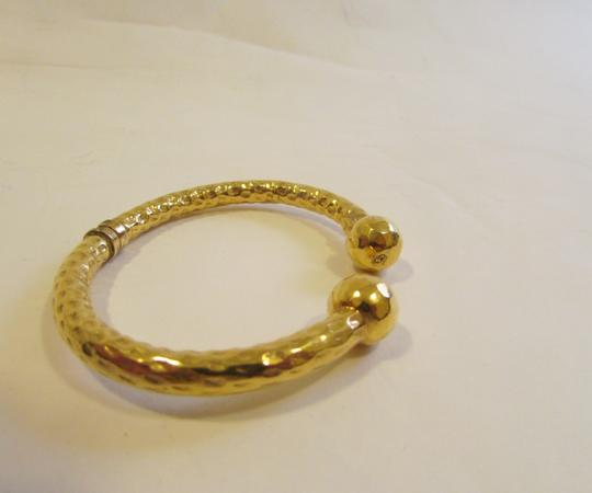 Other Textured Goldtone High Polished Ball Cuff Bracelet