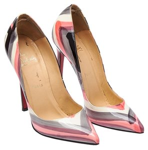 Christian Louboutin Pigalle Graffiti Patent 120 Mm Genuine Sexy White & Pink & Blue Pumps