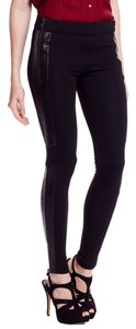 C. Luce Faux Snakeskin Side Panel Skinny Pants Black