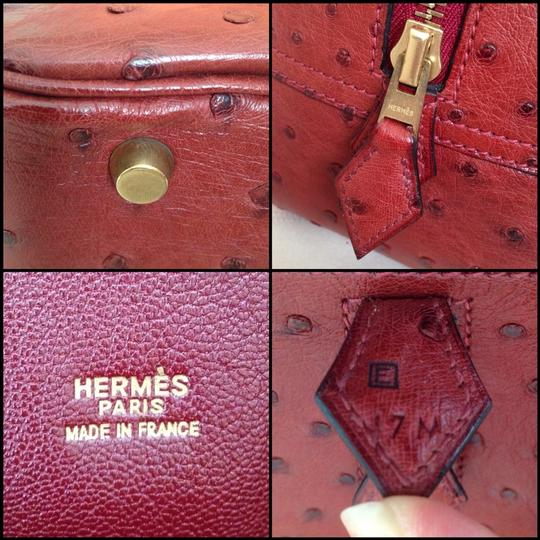 Hermès Ostrich Rare Red Studded Leather Chevre Plume Birkin Kelly Victoria Box 28cm 30cm Exotic Gold Ghw Gold Hardware 24c Shoulder Bag