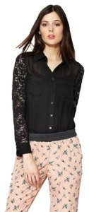 isabel lu Semi-sheer Lace Sleeve Top Black