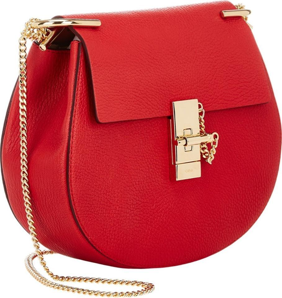 Chloé Small Drew Chain Leather Red Cross Body Bag | Cross Body ...