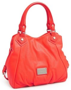 Marc Jacobs Classic Q Fran Lizard Embossed Leather Satchel Tote in Red