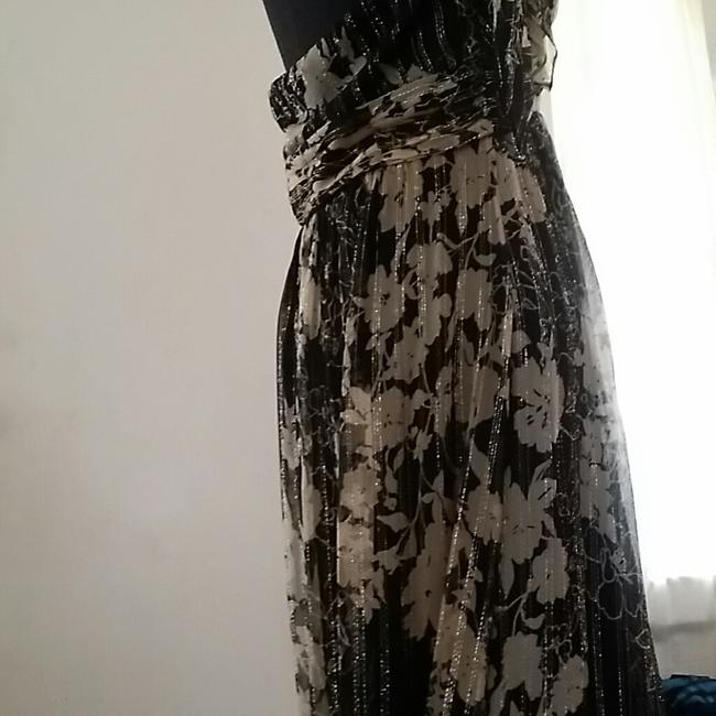 black and cream with silver Maxi Dress by Sue Wong