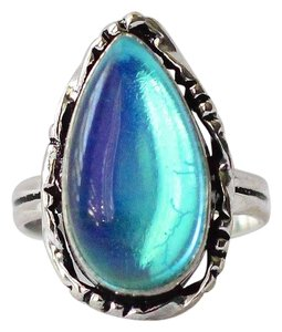 Other sz7 Luminous Dichroic Glass Tear Drop Ring Set in Sterling Silver