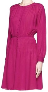 Diane von Furstenberg Silk Dvf Dvf Tawney Magenta Long Sleeve Dress
