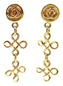 Chanel Chanel 18K Gold Plated Twisted Cross Dangle Clip-on Earrings
