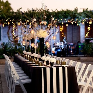 10 Black And White Striped Table Runners
