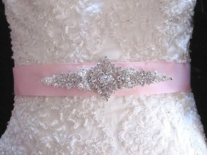 Bridal Dress Gown Beaded Jeweled Belt Brooch