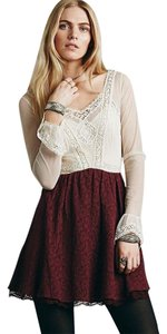 Free People Bohemian Boho Chic Boho Embroidery Victoria Mini Dress