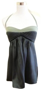 Black Halo Two-tone Silk Bodice Color-blocking Green Halter Top
