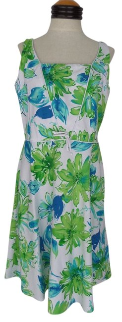 Other short dress White with Blue & Green Floral Print on Tradesy