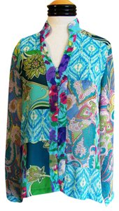 Coldwater Creek Top Multi Color Geometric Print