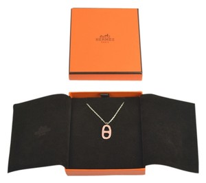 Hermès HERMES Palladium Silvertone Bubble Gum Pink Pendant Necklace Chain NEW