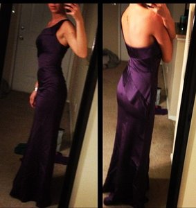 Vera Wang Amethyst Vera Wang White One Shoulder Satin Dress Asymmetrical Skirt Vw360013 Dress