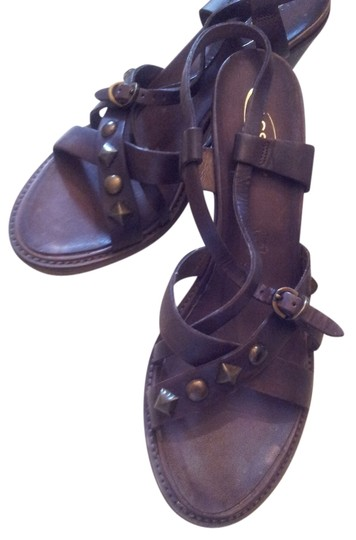 Hassan Vintage Studded Leather Stacked Heel Never Worn Brown Sandals