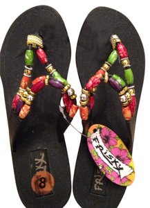 Frisky Black And Multi-beaded Color Sandals