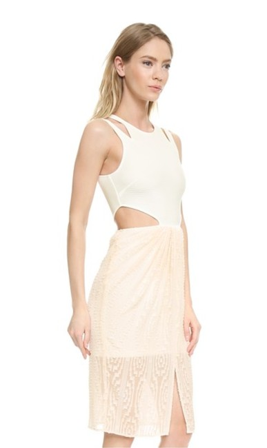 Torn by Ronny Kobo Cut-out Chic White Nude Pink Dress