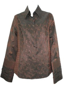 Naracamicie Nara Camicie Jacquard 3 M Button Down Shirt DARK BROWN