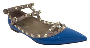 Valentino Rockstud Patent Pointed Toe Cage Blue Flats