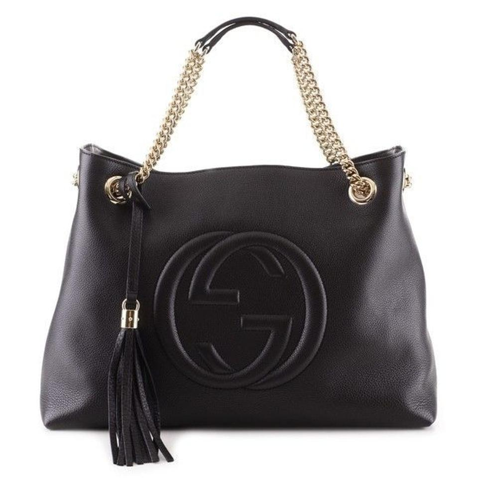 3e79d0df1abc Gucci Soho Double Chain In Black-brand New Flawless Tax) Black Leather  Shoulder Bag