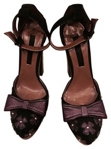 Jill Stuart Black Suede And Violet Metallic Leather Pumps