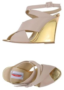 European Designer Brand New Leather Beige Wedges