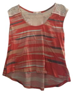 Threads 4 Thought Striped Crochet T Shirt Orange