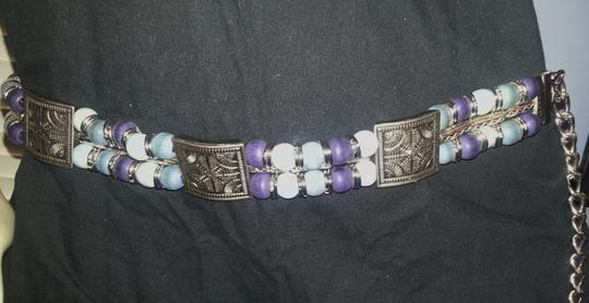Boutique XXL Silver metal with wood beads Chain Belt
