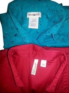 St. Johns Bay & White Stag Sleeveless Two For One Eyelet Cottton Button Down Shirt Red & Teal