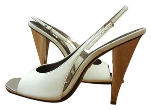 ALDO Slingback Party Metallic White Patent Leather Sandals
